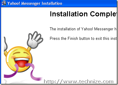 yahoo installation completed