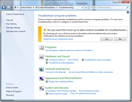 windows 7 advanced troubleshooting
