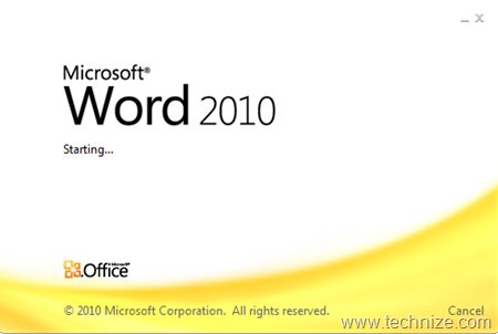 microsoft word 2010 starting