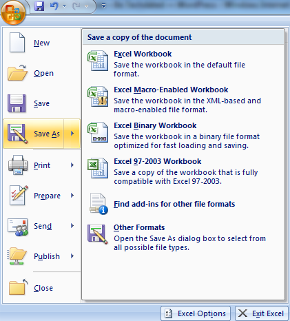 5 Ways To Save An Excel 2007 Workbook