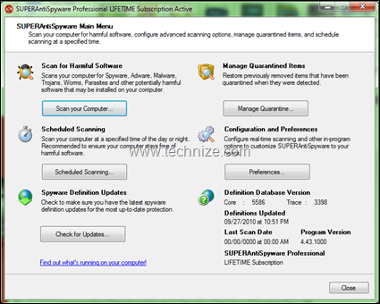 superantispyware professional main screen