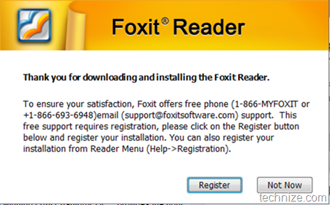Foxit Reader registration