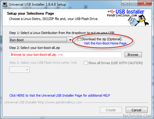 Universal USB Installer Kon Boot