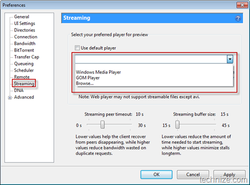 utorrent streaming preferences
